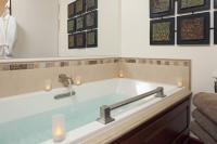 Huge whirlpool tub in guest bathroom