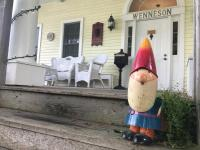Garden Gnome Nills welcomes you at Andor Wenneson Historic Inn