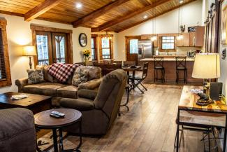 Asheville vacation cabin with fireplace and full kitchen