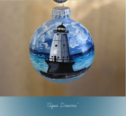 Aqua Dreams: Hand Painted North Breakwater Light Ornament