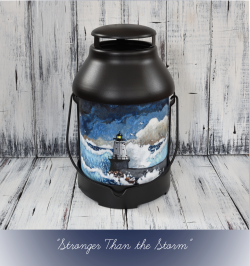 Stronger Than: Hand Painted North Breakwater Light Lantern