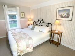 Flower room king bed.