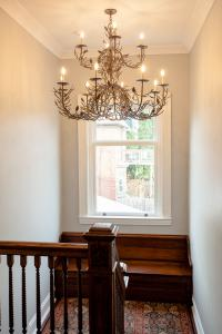 Chandelier, Reading Nook, banister stairs