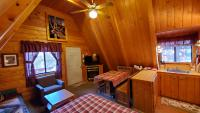 Kitchen, dinette, living area also with a queen bed, Cable TV, gas-log fireplace
