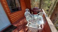 Gas barbecue, table and chairs.