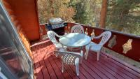 Rear deck with gas barbecue, table and chairs.