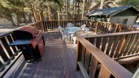 Large deck with gas barbecue, table and chairs.